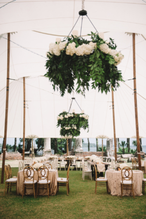 Tent Wedding with Greenery Chandeliers