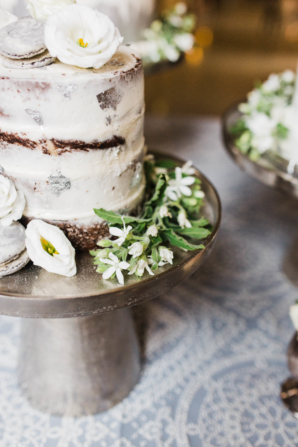 Wedding Cake with Brown and White Details
