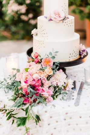 Wedding Cake with Gold Polka Dots