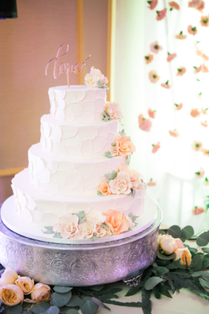 Wedding Cake with Peach Sugar Flowers