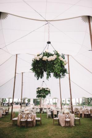 Wedding Tent with Greenery Chandeliers 1