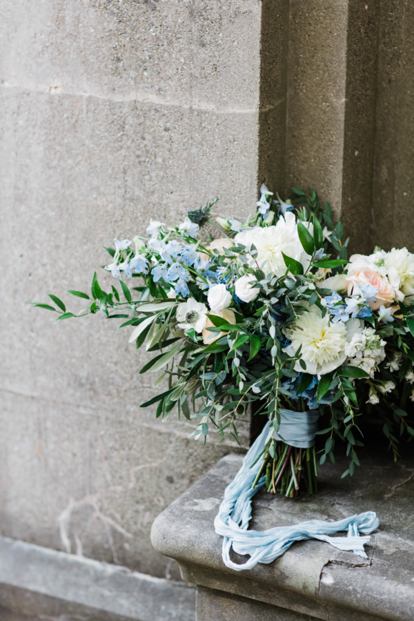 White and Blue Bride Bouquet
