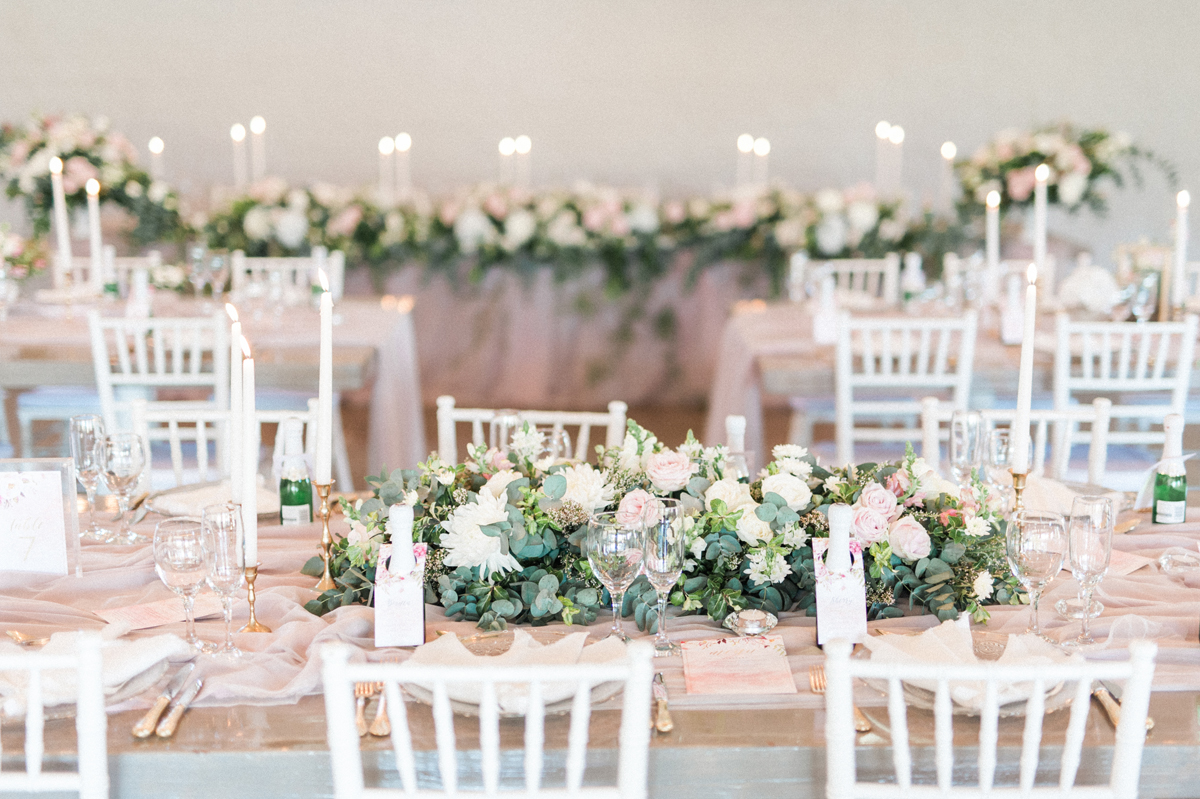 White and Blush Elegant Wedding in Loft