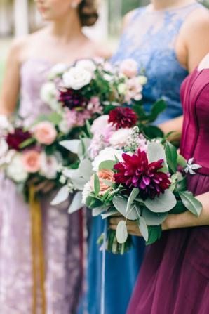 Wine and Jewel Tone Bridesmaids Dresses