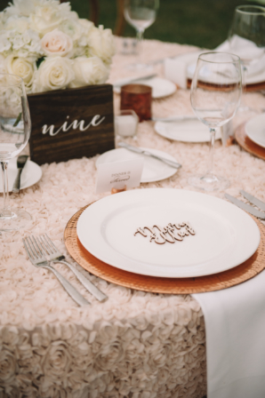 Wood Copper and Champagne Wedding Reception