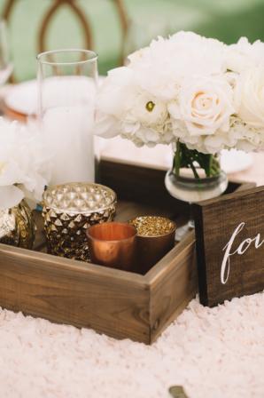 Wood and Metallic Wedding Decor