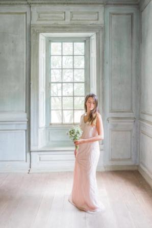 Beaded Blush Bridesmaid Dress
