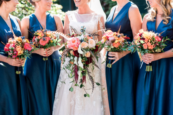 Blue Alfred Sung Bridesmaids Dresses