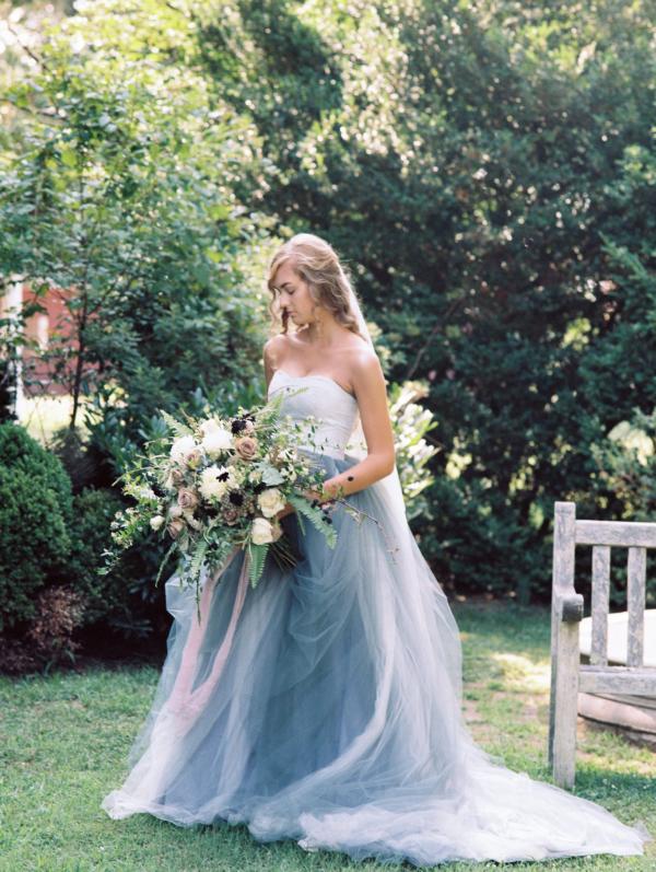 Bride in Blue Tulle Wedding Dress 10
