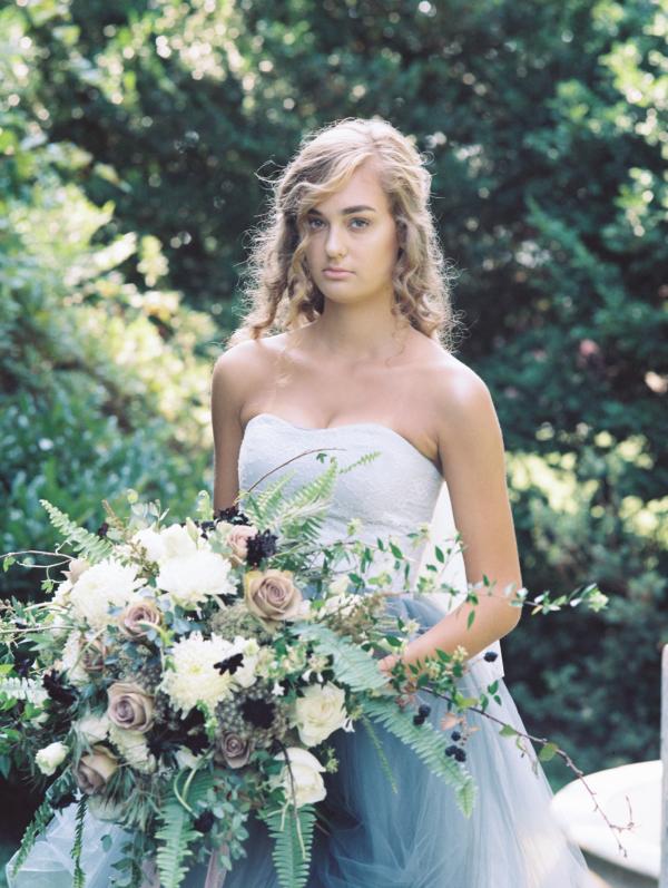 Bride in Blue Tulle Wedding Dress 11