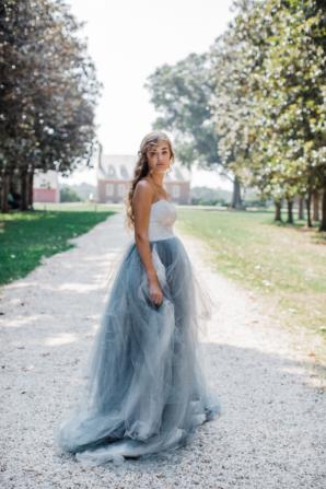 Bride in Blue Tulle Wedding Dress 12