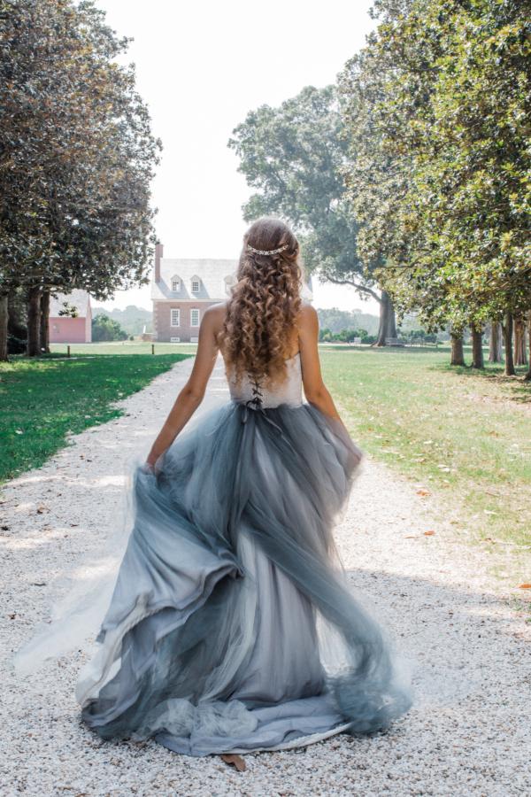 Bride in Blue Tulle Wedding Dress 13