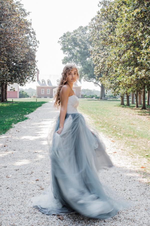 Bride in Blue Tulle Wedding Dress 14
