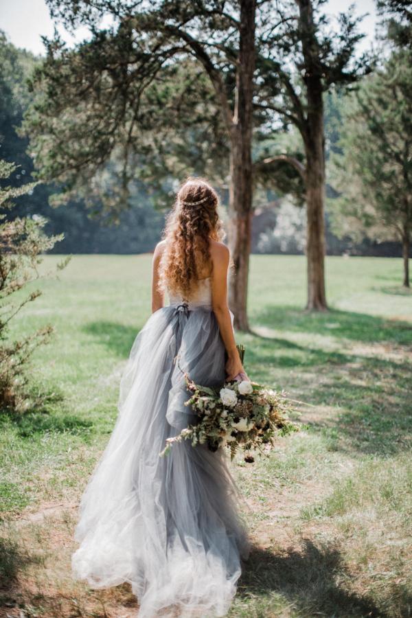 Bride in Blue Tulle Wedding Dress 15
