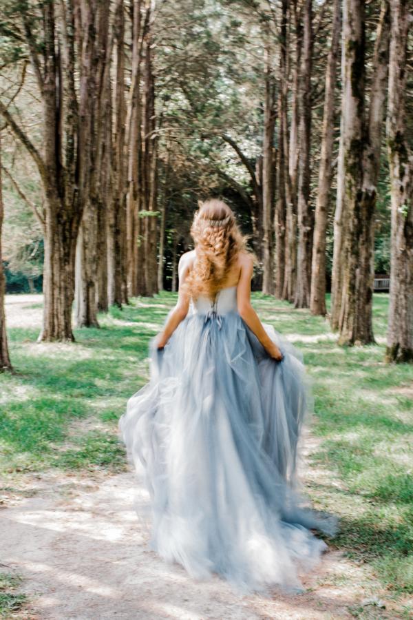 Bride in Blue Tulle Wedding Dress 16