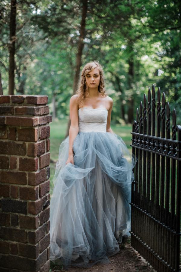 Bride in Blue Tulle Wedding Dress 17