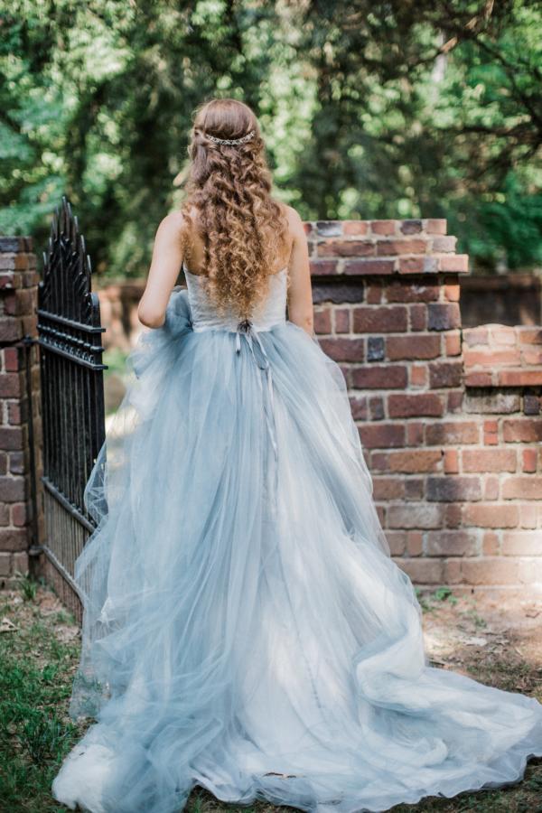 Bride in Blue Tulle Wedding Dress 18