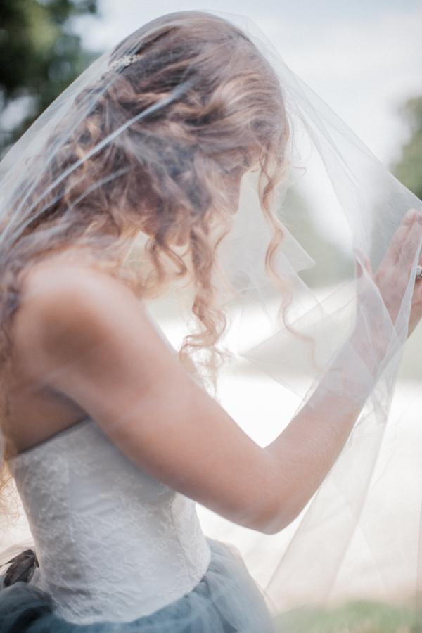 Bride in Blue Tulle Wedding Dress 21