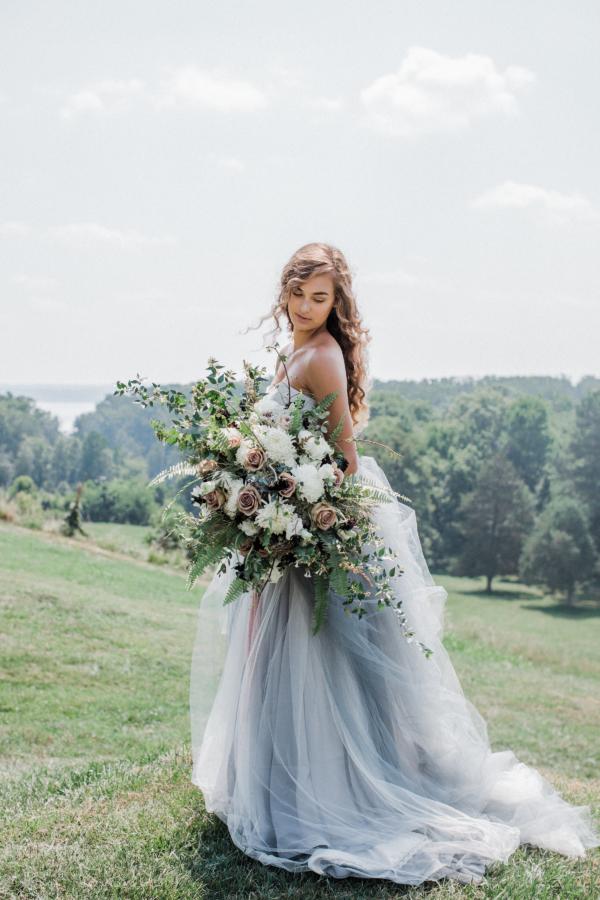 Bride in Blue Tulle Wedding Dress 22