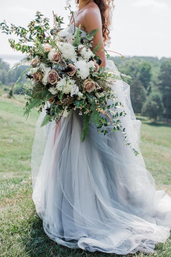 Bride in Blue Tulle Wedding Dress 23