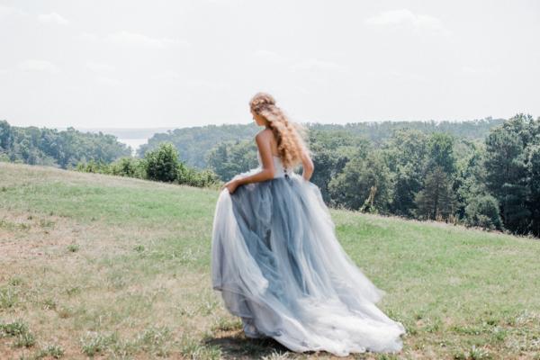 Bride in Blue Tulle Wedding Dress 24