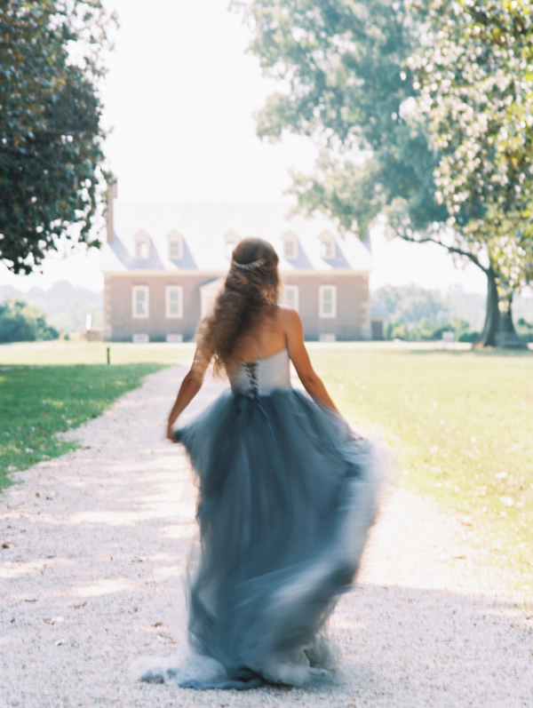 Bride in Blue Tulle Wedding Dress 25