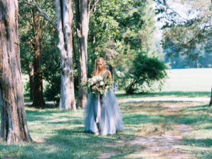 Bride in Blue Tulle Wedding Dress 26