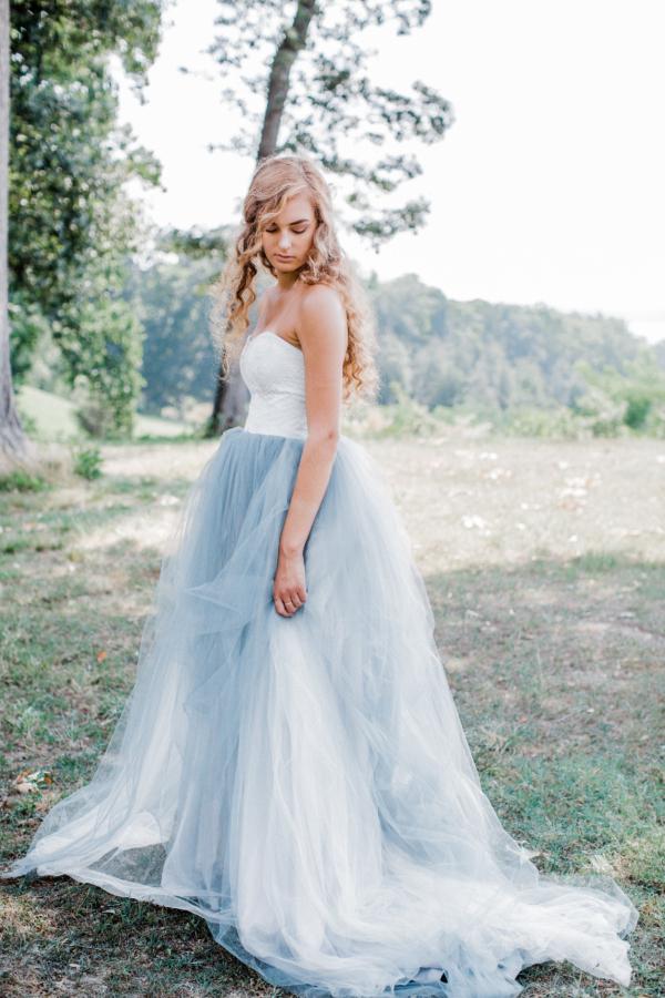 Bride in Blue Tulle Wedding Dress 28