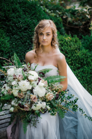 Bride in Blue Tulle Wedding Dress 8