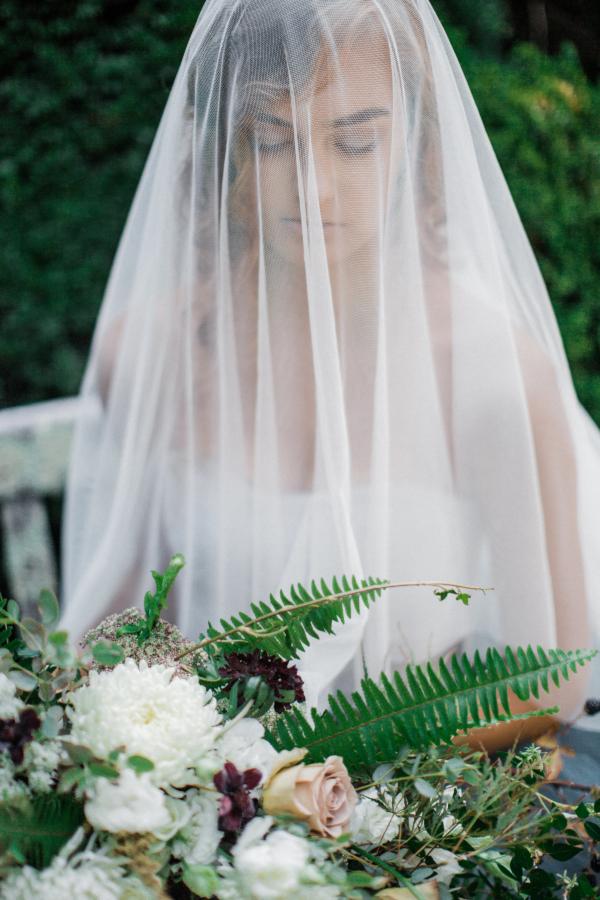 Bride in Blue Tulle Wedding Dress 9