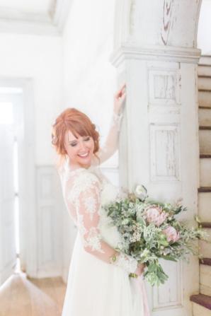 Bride with Lace Sleeve Gown