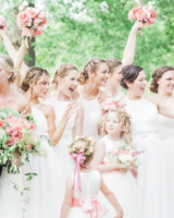 Bridesmaids in White Chiffon Dresses