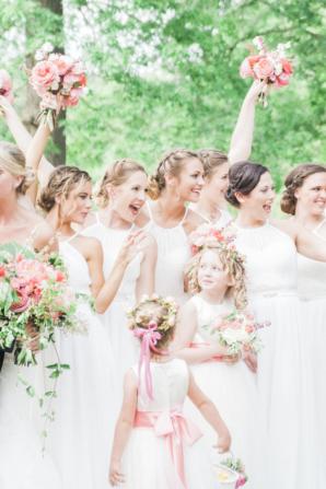 Bridesmaids in White Chiffon Dresses