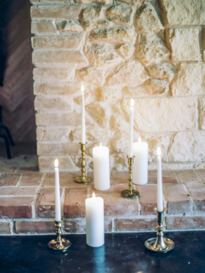 Candles in Vintage Gold Candlesticks