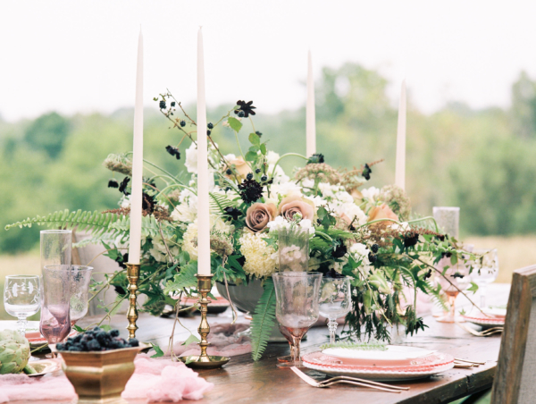 Gold and Mauve Wedding Centerpiece