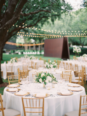 Green White Gold Outdoor Wedding