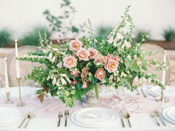 Pink Garden Rose and Greenery Centerpiece