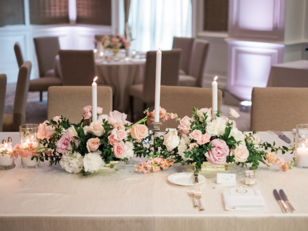 Romantic Candle and Rose Centerpiece