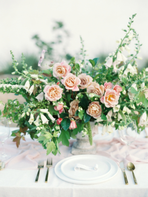 Romantic Pink and Green Centerpiece 4
