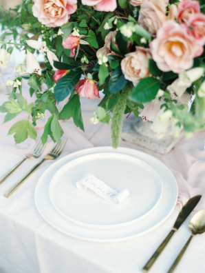 Romantic Pink and Green Centerpiece 5