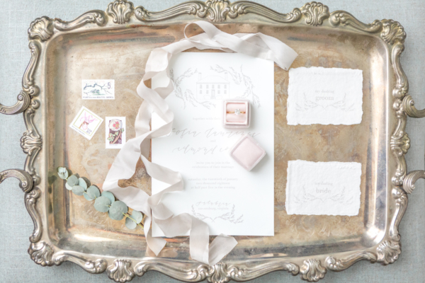 Soft Gray Calligraphy Wedding Invitations