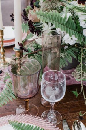 Vintage Glassware at Wedding