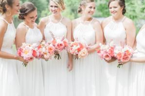 White Halter Bridesmaids Dresses