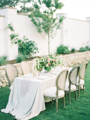 White Pink and Green Garden Wedding Table