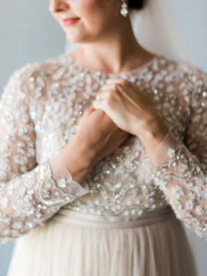 BHLDN Long Sleeve Beaded Dress