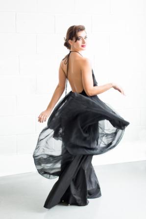 Black Chiffon Bridesmaids Dress