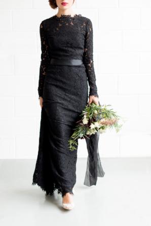 Black Lace Bridesmaid Dress