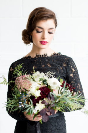 Black Lace Sleeve Bridesmaid Dress