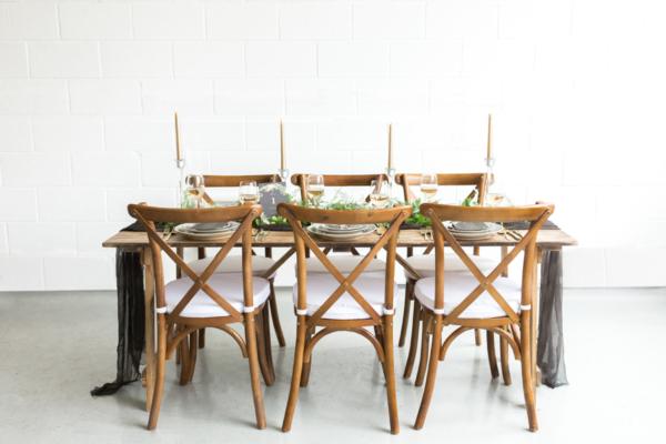 Black and Wood Wedding Table
