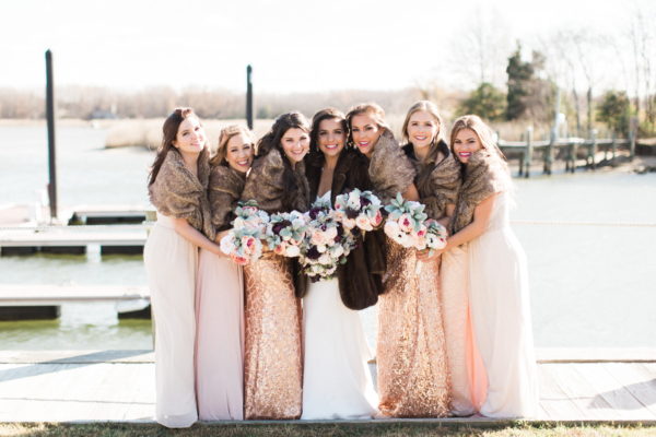 Blush Bridesmaids Dresses with Faux Fur Stoles